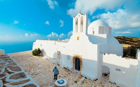Sikinos, Greece-Monastery of Zodohou Pigis with a panoramic view of the beautiful island