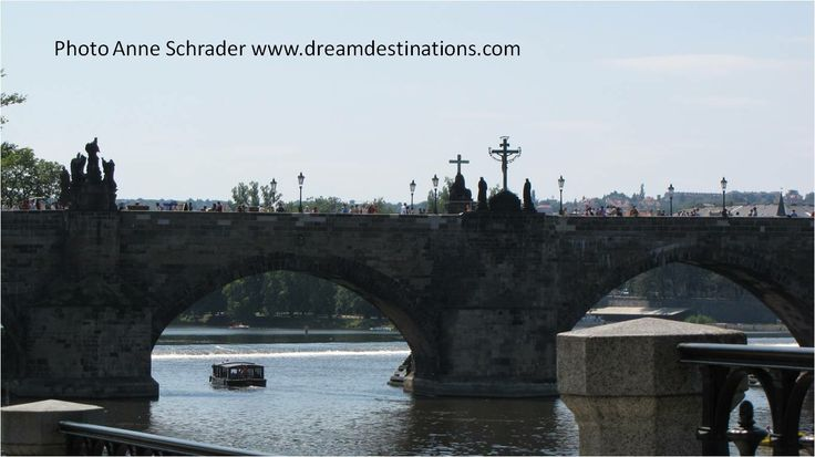 Charles Bridge Prague.  It was built in the 14th century and has 30 statues of 28 saints, the Crucifixion & a Pieta (15 on each side). For centuries, this bridge was the only link between Lesser Town on the left bank of the Vltava River & the Old Town on the opposite side