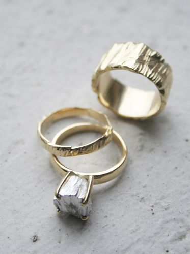 unique gold rings, Rockwell ii Wedding Set in 14k yellow gold with white gold rock. $3555