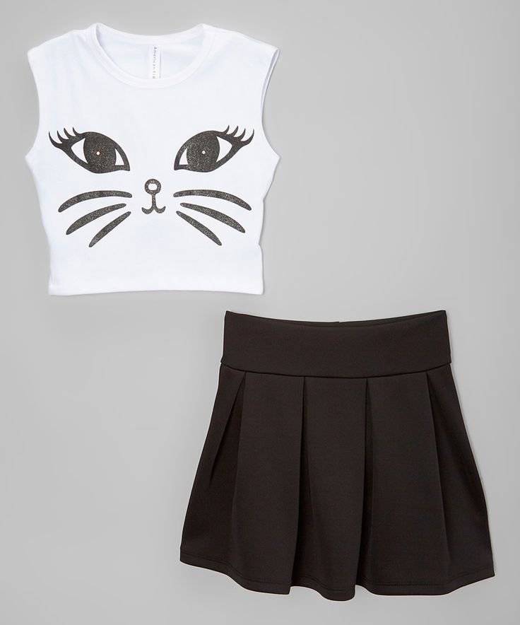 Love this American Kids Black & White Cat Crop Top & Pleated Skirt - Toddler & Girls by American Kids on #zulily! #zulilyfinds