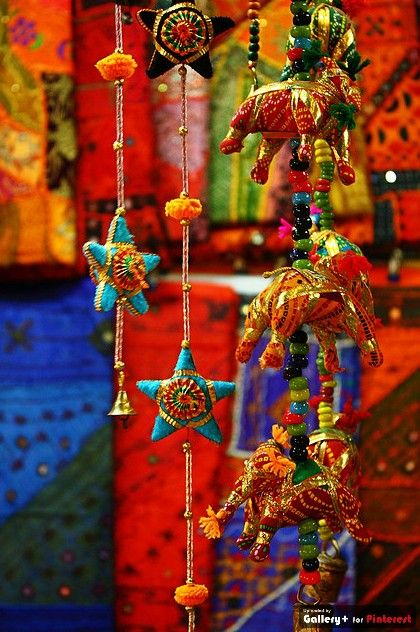 Colorful, beautiful fabric handicrafts - one can buy at ridiculously low prices on the streets of Jaisalmer, India. These used to hang in my kids' nursery & now they hang over my bedroom drapes. Seeing them instantly transport me to exotic travels in eclectic India.