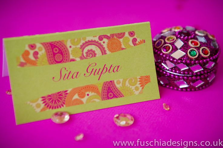 Bombay Mix personalised place name.  Perfect for Asian weddings as bright and colourful.  Can be created in any colour of your choice from www.fuschiadesigns.co.uk.
