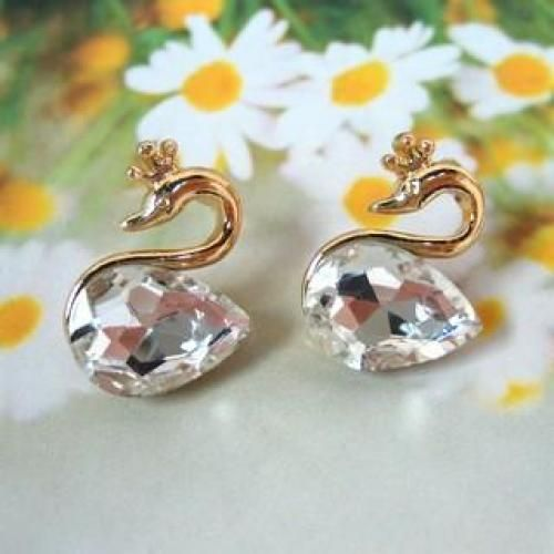 Jeweled Swan Earrings White - One Size