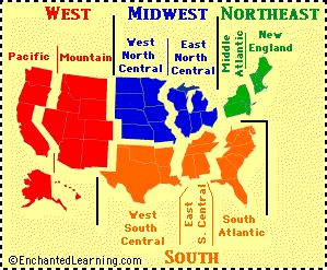 regions of the United States, maps, printables, quiz, test, etc...
