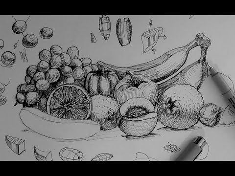 ▶ Pen & Ink Drawing Tutorials | How to draw a fruit and vegetable still life - YouTube