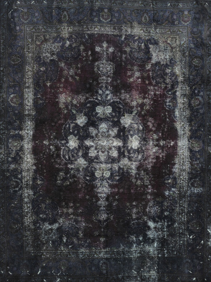 Black Persian Tabriz Vintage carpet  www.vintagecarpets.com