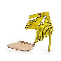 Yellow suede tassel heels - court shoes - shoes / boots - women