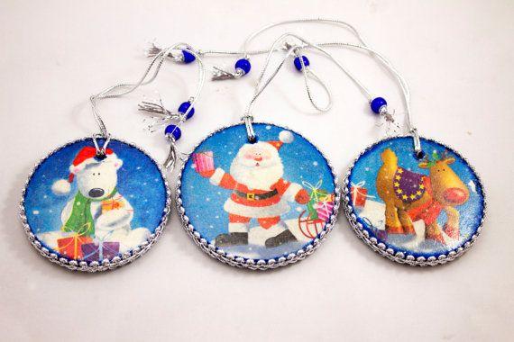 Set of 3 Wooden Christmas Tree Ornaments Christmas от elanka