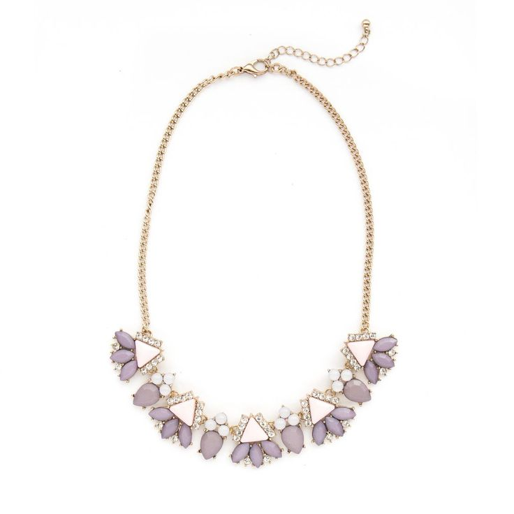 $32 Sophisticated blush and lavender statement necklace on a pretty gold chain.
