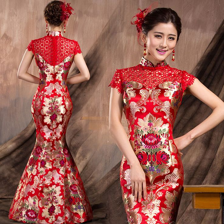 Fabric red lace and floral brocade features back zipper for Asian red wedding dresses