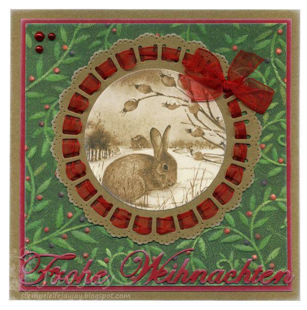 Marianne Design Craftables Ribbon Doily Stanze (CR1350), Card Topper (CT1502), Kulricke Frohe Weihnachten 2 Stanze