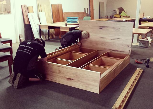 The guys hard at work fitting out this gorgeous Blackbutt  Bed with Storage that was made to order for a Sydney customer www.eclipsefurniture.com.au #furniture #design #handcrafted #wood #woodworking #australianmade #eclipsefurniture #bespoke #interiordesign #decor #furnituredesign #reuse #repurpose #recycle #salvaged #solidtimber #timberfurniture #australiandesign #hardwood