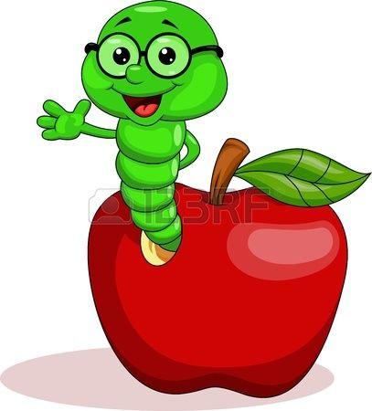 Dibujo animado de gusano que sale de una manzana roja. Foto de archivo.