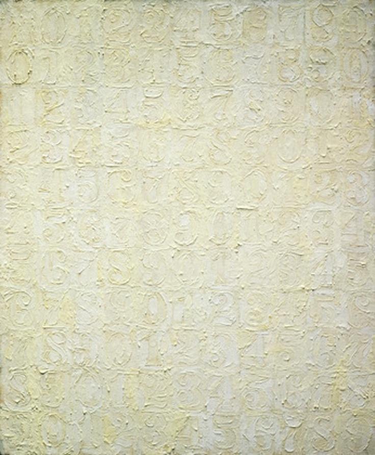 Jasper Johns White Numbers, 1957. Encaustic on canvas, 34 x 28 1/8 inches. Collection The Museum of Modern Art, New York. Elizabeth Bliss Parkinson Fund. © 2013 Jasper Johns / Licensed by VAGA, New York.  #JasperJohns #JKLFA