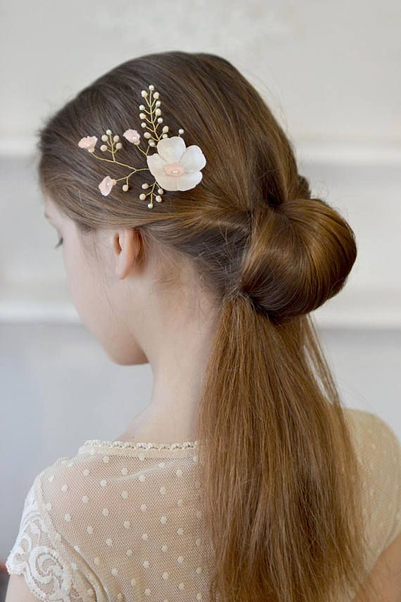 Ivory floral hair pin Champagne floral pearl vine bridal hair vine Delicate ivory wedding hairdress Pearl wedding hair pin bridal satin  ready to ship  this is a very delicate floral vine in the hair of the bride, flower girls or bridesmaids. For any special occasion This delicate fabric flowers with pearl coating in combination with small cream pearls and matte crystals ivory look very elegant and romantic.  All the branches are movable and you can form the composition for your hair style…