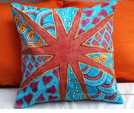 Orange pillow cover Linen pillow case Summer linen pillow cover colorful Pillow Sofa cushion Patio cushion cover art outdoor pillow cover