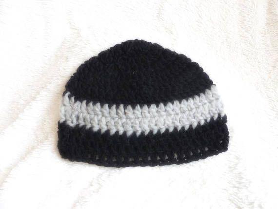 Bonnet en laine noir et gris homme