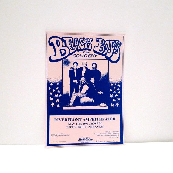 Beach Boys - Vintage In Concert Poster - May 11, 1991 - Riverfront Amphitheater, Little Rock, Arkansas  This poster is original and was from our Mohawk Music Record Store in Tulsa, Oklahoma. It is a numbered, limited edition, signed by the artist (info below).  Measurements: 15 x 10.5 inches approximately Condition: Very Good Condition, on thick paper, one small spot, numbered 308/1000 by artist E. Wincentsen  We would get many posters for live performances / in store events for a variety of…