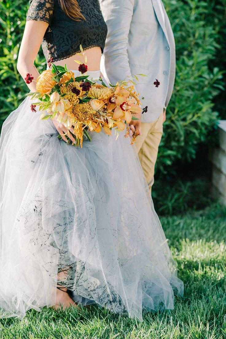 blue and yellow wedding inspiration - photo by Krista Mason Photography http://ruffledblog.com/unconventional-wedding-inspiration-with-grey-and-marigold