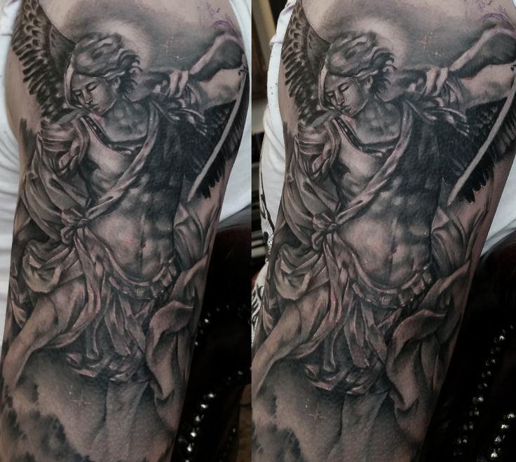 Angel Michael black and grey sleeve religious tattoo www.katerollinson.com