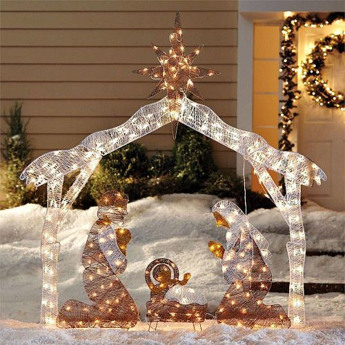 Outdoor Nativity Scenes That Light Up 30 best christmas outdoor nativity scene images on pinterest large nativity scene outdoor christmas decoration crystal light up holy family workwithnaturefo