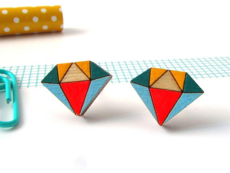 Mini wooden diamond stud earrings painted in primary colours #notonthehighstreet #diamond #diamondearrings #woodendiamonds #redpaperhouse #jewellery #handmade #etsy #etsyseller #folksy #noths #molliemakes
