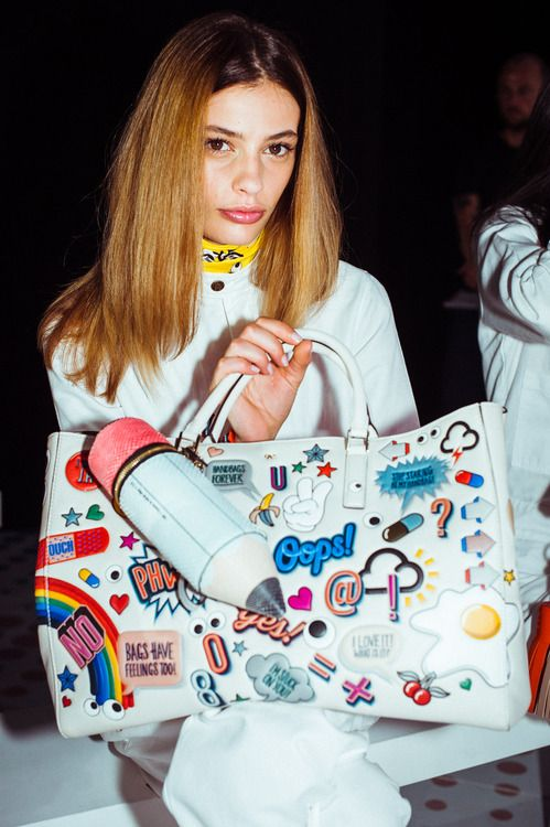 Anya Hindmarch sticker satchel. Pre-order the Spring 2015 collection on NeimanMarcus.com today!