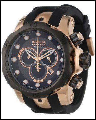 0361 Colección Reserva de Venom cronógrafo Negro Poliuretano reloj invicta de los hombres