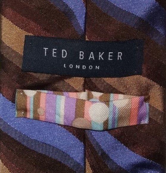 TED BAKER LONDON Tie 100 Silk Blue/Beige/Brown Color L60