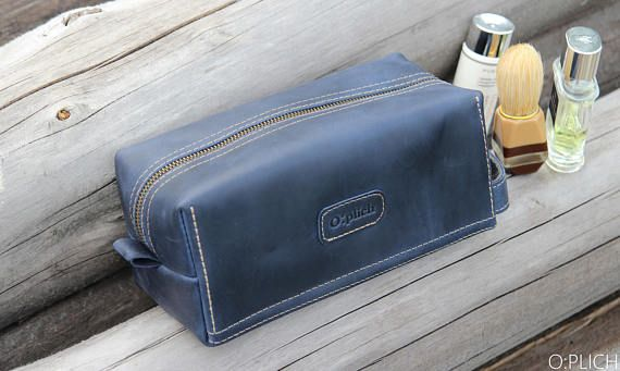 Personalized Groomsman Gift/ Waxed Blue Leather Kit /