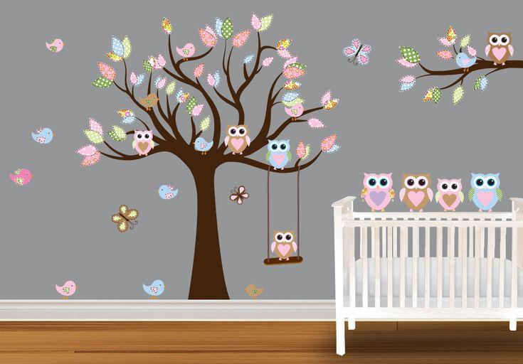 Children Wall Decal Baby Nursery Owl Wall Decal Wall Stickers Birds butterflies. $124.99, via Etsy.