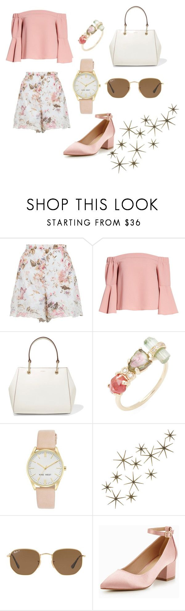 """""""Floral"""" by sebnemu ❤ liked on Polyvore featuring Zimmermann, Topshop, DKNY, Jacquie Aiche, Nine West, Global Views and Ray-Ban"""