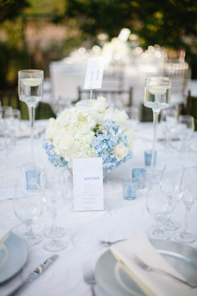 Blue centerpieces with hydrangeas (with more blue and less white)