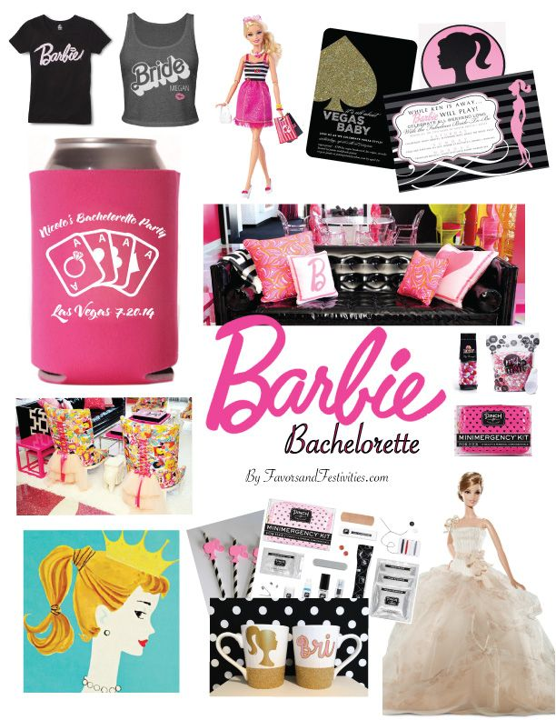 Want to plan the most amazing Barbie-themed Bachelorette for your favorite bride? Check out these posts for details about invitations, favors, decorations, and a real-life Barbie Dreamhouse in Las Vegas! #BarbieBachelorette