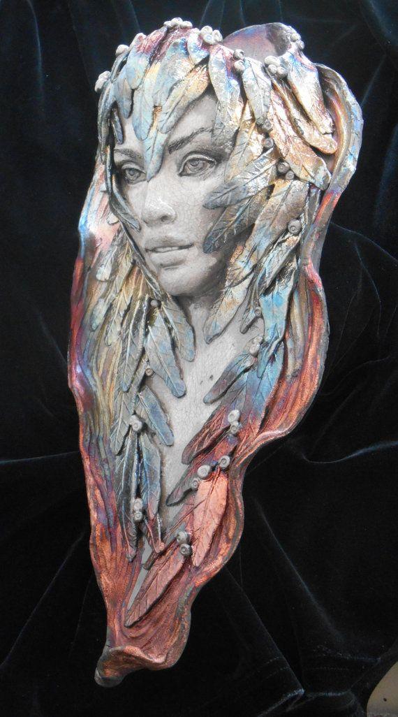 "Raku, ""MorningGlory"", Wood Nymph Series, Wall Hanging or Wall Pocket, by Leslie Ahrens"