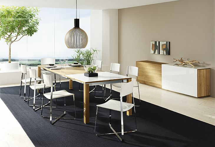 Modern-Dining-room-set-chrome-acrylic-chairs-