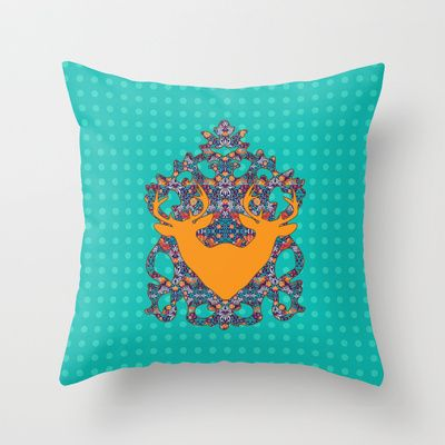 Bird Song : Orange Antelope Throw Pillow by Geetika Gulia - $20.00