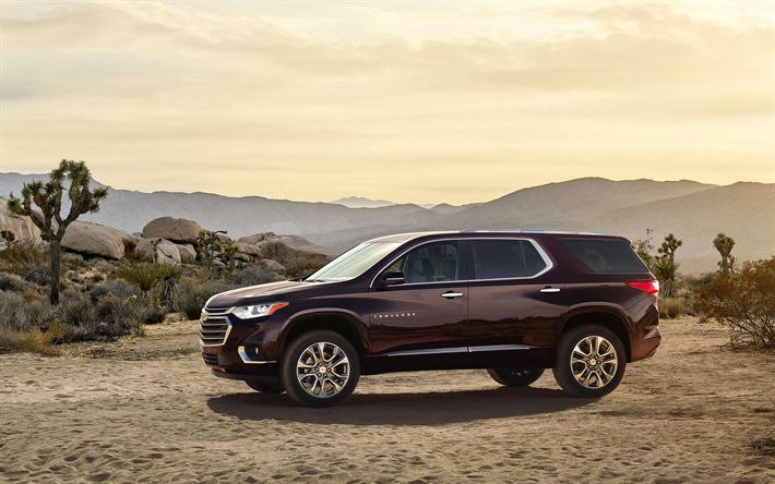 Download wallpapers Chevrolet Traverse, 2018 cars, offroad, american cars, SUVs, Chevy Traverse, Chevrolet
