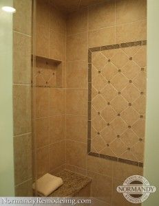 Beautiful Shower Design With Bench And Niche In A Small Bathroom! Created  By Normandy Designer · Shower BenchesShower DesignsTile ...