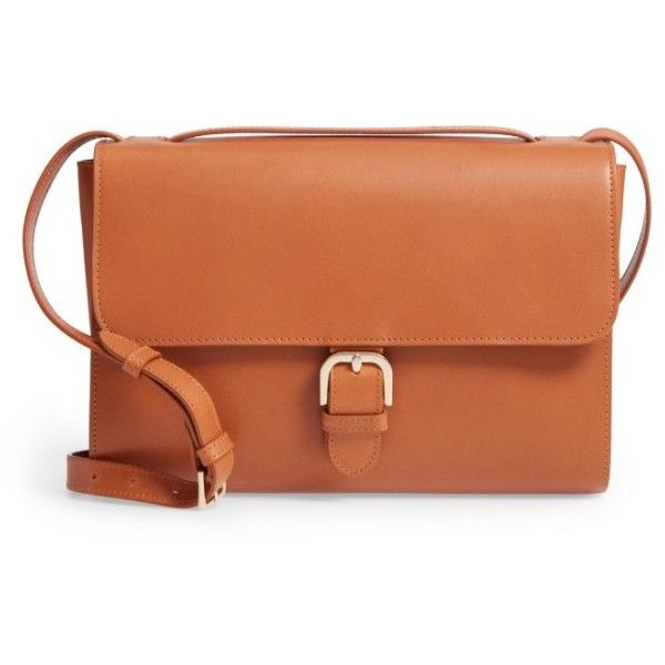 Women's A.p.c. Katy Calfskin Leather Messenger Bag ($605) ❤ liked on Polyvore featuring bags, messenger bags, camel, calfskin bag, courier bag, camel bag, a p c bag and brown bag