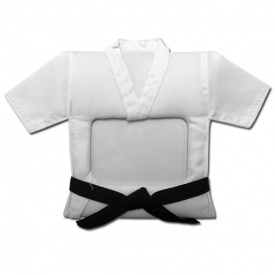 """The karate gi picture frame is designed for proudly displaying your greatest martial arts moments. These karate picture frames are sure to make a great gift for any martial artist.   Product highlights:    Shaped like a white Gi  Black belt  Sturdy frame  Display stand on back    Martial Arts Photo Frame Dimensions:  Frame Height: 8"""" (approx.)   Frame Width: 6.5"""" (approx.)  Holds a 3"""" x 4.5"""" photo."""