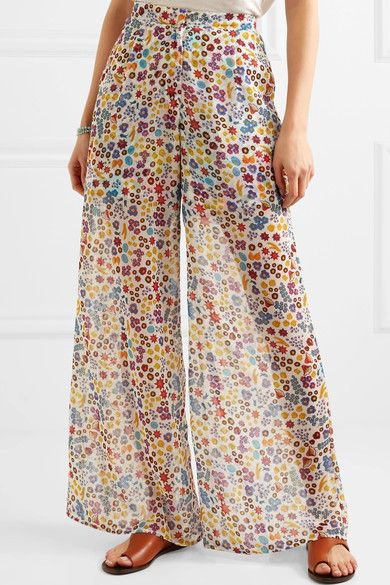 All Things Mochi - Bora Printed Chiffon Pants - Blue