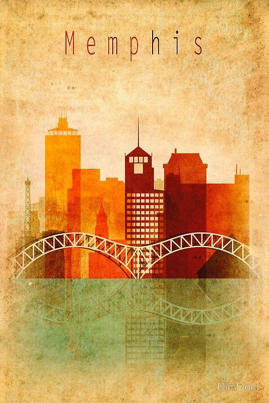 Memphis City Vintage Skyline