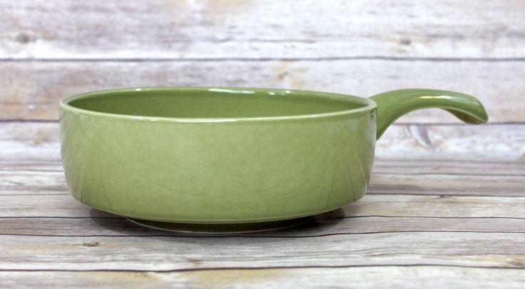 """Must See; Vintage 8"""" Olive Green Ceramic Skillet  Nook Decor"""