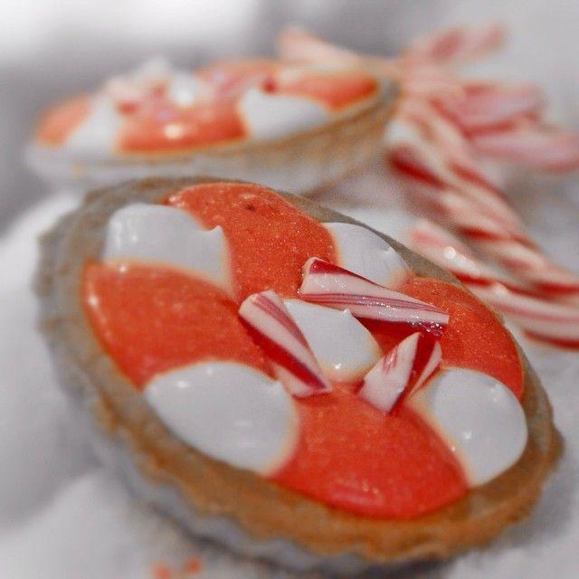 Candy Cane Berry! Το αγαπημένο γλειφιτζούρι των Χριστουγέννων έγινε τάρτα με κρέμα βανίλιας και βατόμουρο.
