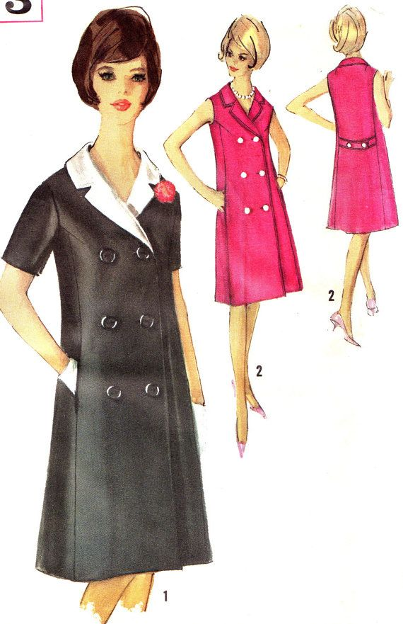 1960s Dress Pattern Simplicity 5273 Mod Double Breasted Detachable Collar Coatdress Womens Vintage Sewing Pattern Bust 32