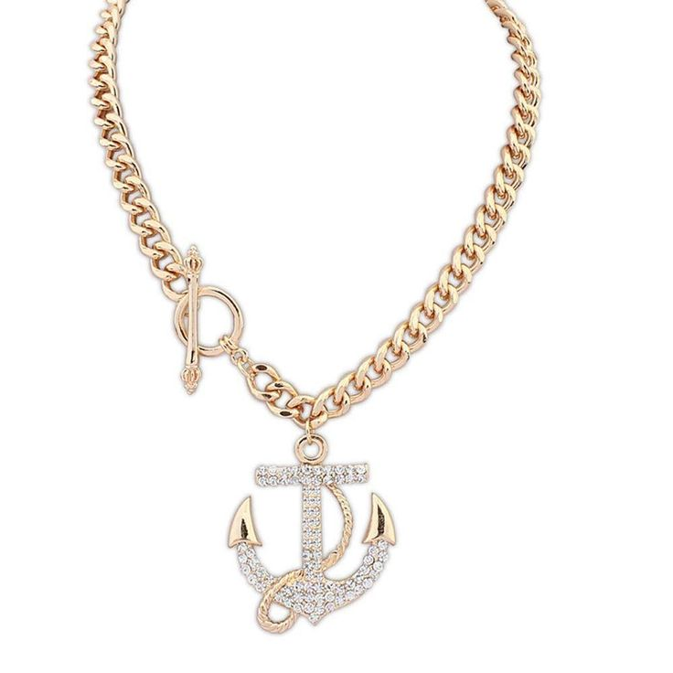 Diamond Crystal Anchor Sweater Necklace Pendant
