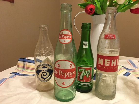 4 Vintage Soda Pop Bottles 7up Dr. Pepper by TheTeaberryCottage