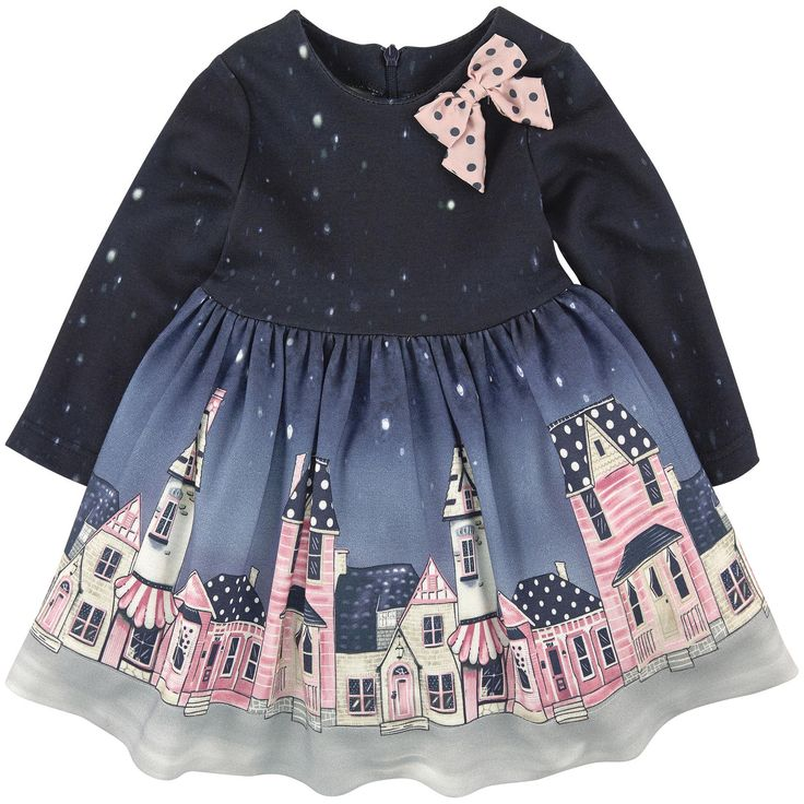 Viscose and elastane jersey Twill lining Synthetic tulle Comfortable item Pleasant to the touch Close fitting waist Crew neck Long sleeves Gathered waistband Tulle patch on the lining Invisible zipper at the back Fancy bow Fancy print Dot print - $ 173