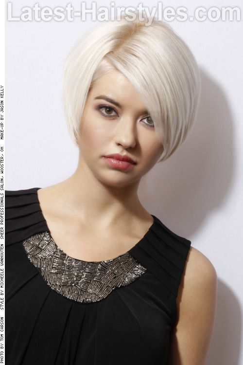 Short Hairstyle with Side Swept Fringe for square face